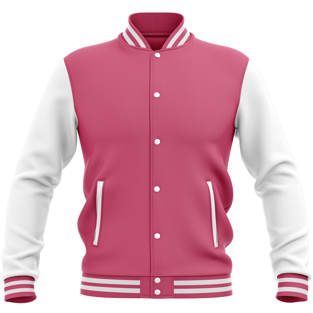 Teddy - Veste Varsity College Bicolore Hot Pink / White Rose