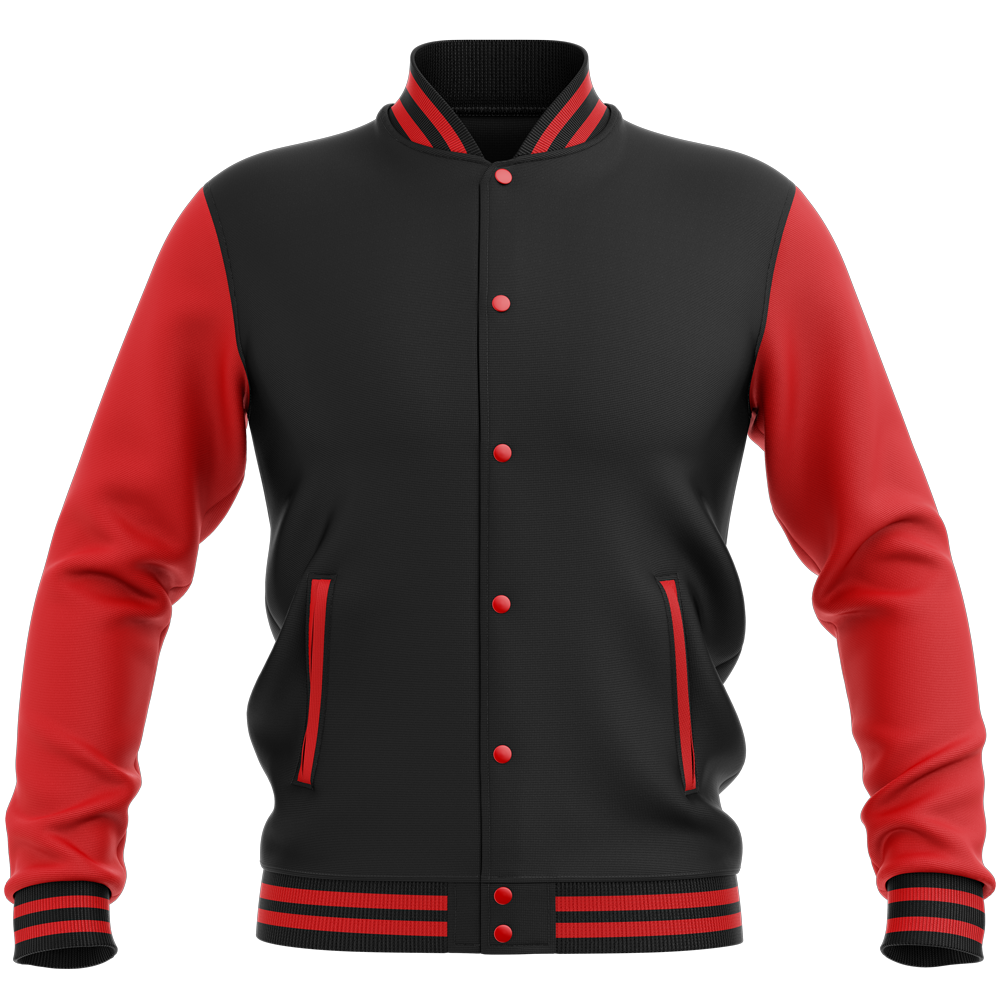 Teddy - Veste Varsity College Bicolore Jet Black/ Fire Red Noir