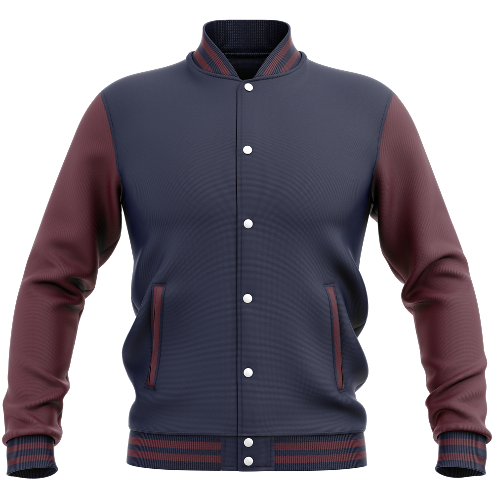 Teddy - Veste Varsity College Bicolore Oxford Navy/ Burgundy Bleu
